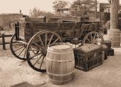 pic of wagon  - Wagon and unloaded goods located at a movie set in the desert west of Tucson - JPG