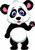 Baby panda cartoon waving hand