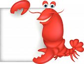 picture of lobster  - Vector illustration of Lobster cartoon with blank sign - JPG