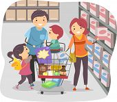 Illustration of Stickman Family Shopping in a Grocery Store