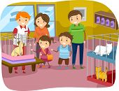 Illustration of Stickman Family Buying a Cat From a Pet Store