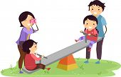 stock photo of seesaw  - Illustration of Stickman Family Having Fun in the Playground - JPG