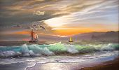 Oil painting on canvas , sailboat against a background of sea sunset