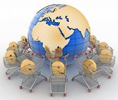 e-commerce sign in a trolley round globe on a white