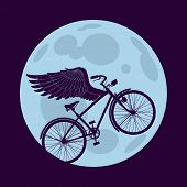 Cruiser bicycle is flying with wings over the circle of the moon. Raster image. Find an editable version in my portfolio.