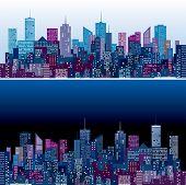 skylines da cidade em duas versões de cor púrpura e azul