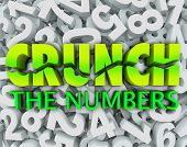 The words Crunch the Numbers on a background of digits to illustrate accounting, budgeting, doing ma