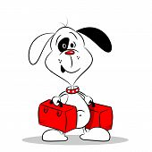 A cartoon dog holding two suitcases