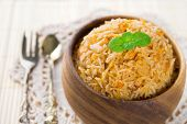 stock photo of curry chicken  - Indian food biryani rice or briyani rice - JPG