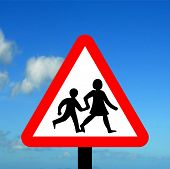 Warning triangle children crossing