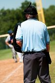 stock photo of umpire  - Baseball umpire on the field during a game - JPG