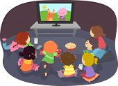 Illustration of Stickman Kids Watching Cartoons