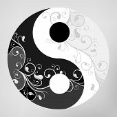 foto of karma  - Yin yang pattern symbol on grey background vector illustration - JPG