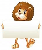 Illustration of a young lion holding an empty banner on a white background