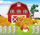 stock photo of bird fence  - Illustration of the chickens at the farm near the red barnhouse - JPG
