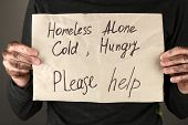 foto of homeless  - homeless man asks for help - JPG