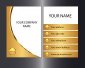 Gold colored business card with front and back designs.