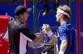 BARCELONA - APRIL, 23: Argentinian Carlos Berlocq and Spanish Gimeno-Traver greet each other after h