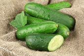 foto of sackcloth  - Tasty green cucumbers on sackcloth background - JPG