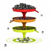 stock photo of spam  - Three funnels with balls inside and green target  - JPG