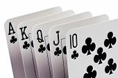 foto of flush  - Game cards - royal flush isolated over white