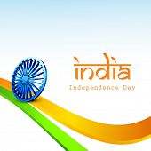 Indian Independence Day concept with 3D ashoka wheel on tricolors wave background.