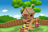 picture of playtime  - A vector illustration of kids playing in a tree house - JPG