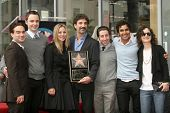 Chuck Lorre with the cast of 'Big Bang Theory' at the Ceremony Honoring Chuck Lorre with the 2,380th
