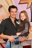 Antonio Sabato Jr and daughter Mina  at the Los Angeles Premiere of 'Hannah Montana The Movie'. El C