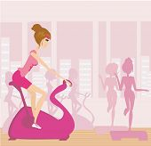 Vector Silhouettes Of People Exercising In A Gym