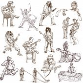 stock photo of didgeridoo  - Collection of hand drawn illustrations of musicians from around the world - JPG