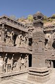 picture of ellora  - Buddhist temples bored in rocks in the Ellora town in India - JPG