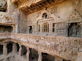foto of ellora  - Buddhist temples bored in rocks in the Ellora town in India Maharashtra India  - JPG