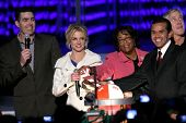 Adam Carolla with Britney Spears and Antonio Villaraigosa   at the Debut of L.A. Live's 'Light of Angels'. L.A. Live, Los Angeles, CA. 12-04-08