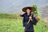 Man Asian Peasant Shepherd In Chinese Hat And Animal Skin