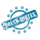 Blue Weathered Polar Vortex Stamp Circle And Snowflakes Design