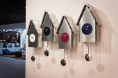 Modern Pendulum Clocks On Display At Homi, Home International Show In Milan, Italy