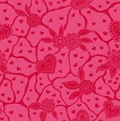 Seamless texture, hearts and flowers.