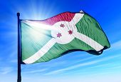 Burundi flag waving on the wind