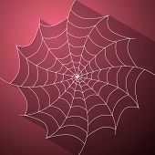 Abstract Vector Cobweb Illustration On Dark Pink Background