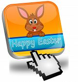 Easter bunny wishing happy easter button with cursor