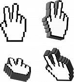 3D Vector vitória mão cursores