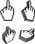 Cursores de mão 3D Vector