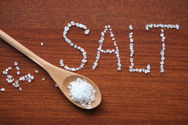picture of crystal salt  - Sea salt in wooden spoon and letters from salt crystals - JPG