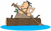 picture of hollow log  - This illustration depicts a caveman paddling a hollowed out log canoe - JPG