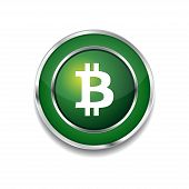 Bit Coin Sign Circular Green Vector Web Button Icon