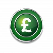 Pound Currency Sign Circular Vector Green Web Icon Button