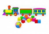Vector illustration of Toy train and building blocks