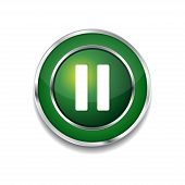 Pause Circular Vector Green Web Icon Button