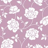 Seamless white floral pattern on purple. Vector illustration.